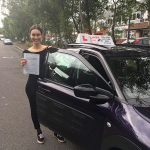 Well done Violeta!!! Passed first time 3 minor faults and no mirror faults!!! First pass in the purple peril!!!
