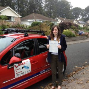 Congratulations to my daughter, Emily Locke who passed her driving test 25th September at Newton Abbot Test Centre with only 2 minors!!